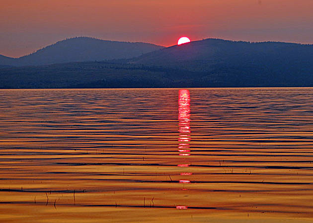 sunset at flathead lake