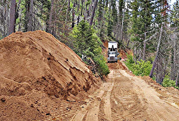 Road work on Magruder Corridor. (Bitterroot National Forest photo, Townsquare Media)